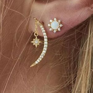 2 Piece Set Gold Sun Star Moon Earrings